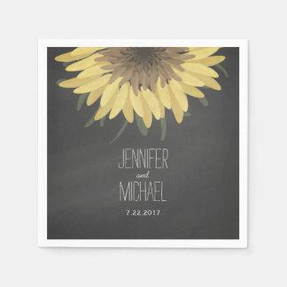 Sunflower Chalkboard Rustic Wedding Disposable Serviettes