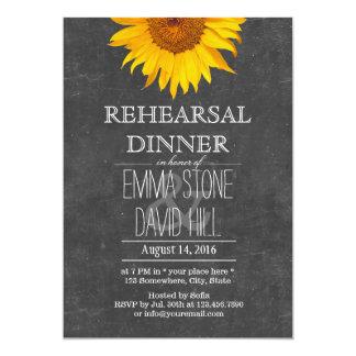 Sunflower Chalkboard Wedding Rehearsal Dinner 13 Cm X 18 Cm Invitation Card