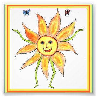Sunflower Child Fun Drawing Photo Print