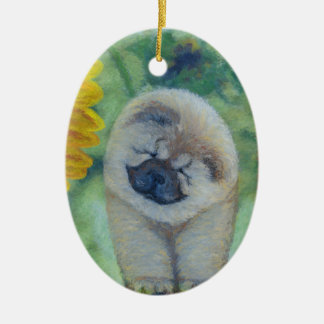 Sunflower Chow Chow Christmas Ornament