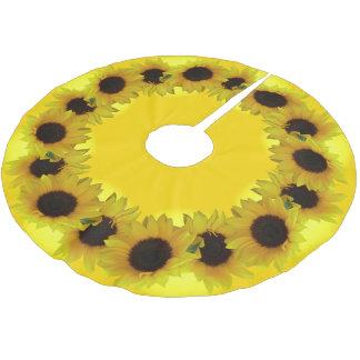 Sunflower Christmas Tree Yellow Flowers Tree Skirt Brushed Polyester Tree Skirt