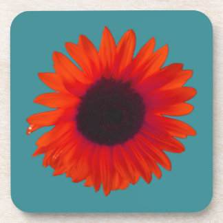 Sunflower Coasters (Set of 6) (Orange and Teal)