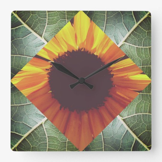 Sunflower Collage Wall Clock