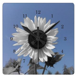 Sunflower Color Splash Square Wall Clock