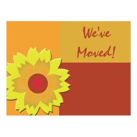 Sunflower Colour Block Change of Address Postcard