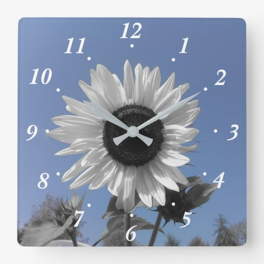 Sunflower Colour Splash Square Wall Clock