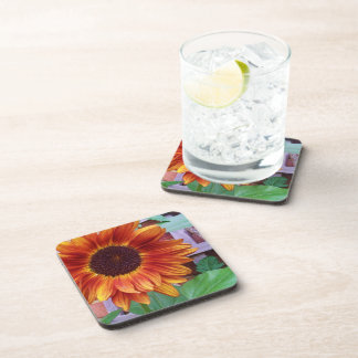 Sunflower cork-backed coasters