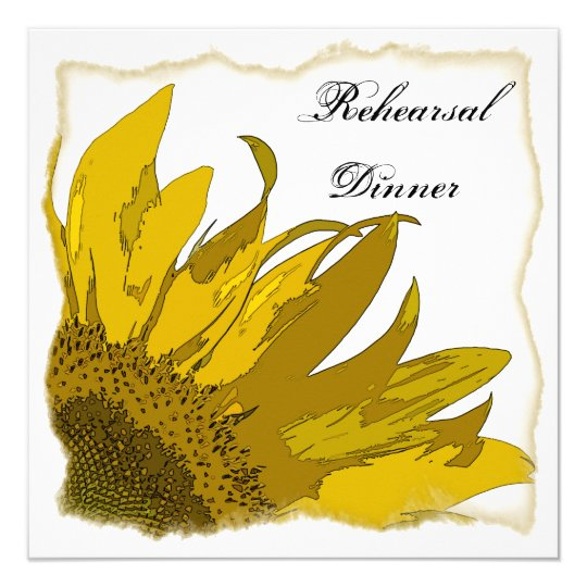 Sunflower Corner Wedding Rehearsal Dinner Invite