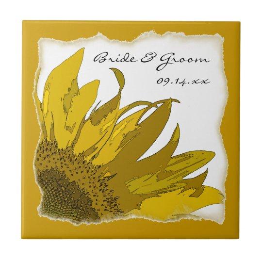 Sunflower Corner Wedding Small Square Tile
