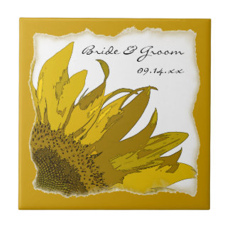 Sunflower Corner Wedding Tile