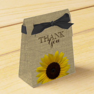 Sunflower Country Burlap Print Favour Box