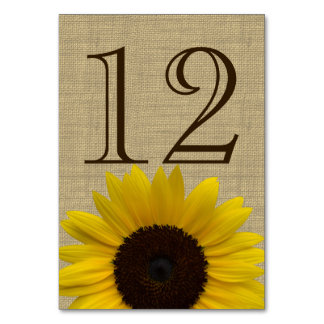 Sunflower Country Burlap Table Number Card Table Card