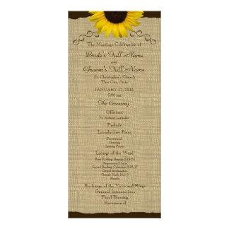 Sunflower Country Burlap Wedding Program Rack Card