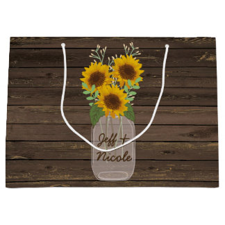 Sunflower Country Wood Mason Jar Wedding Large Gift Bag