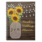 Sunflower Country Wood Mason Jar Wedding Notebook
