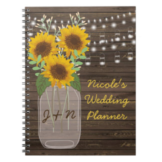 Sunflower Country Wood Mason Jar Wedding Spiral Notebook