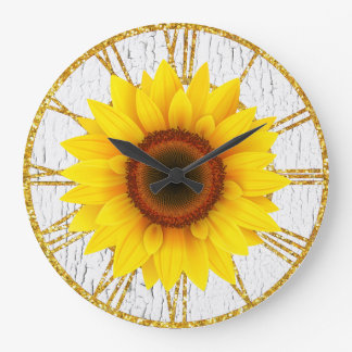 Sunflower Cracked Paint Background Large Clock