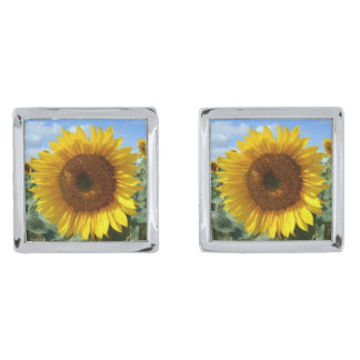 Sunflower Cufflinks Silver Finish Cufflinks