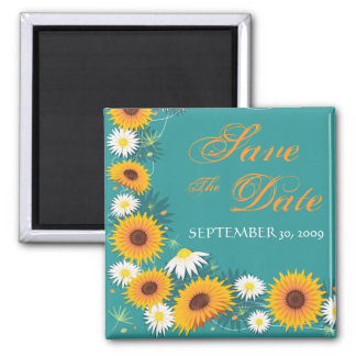 Sunflower Daisy Save The Date Wedding Announcement Square Magnet