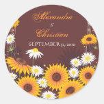 Sunflower Daisy Save The Date Wedding Announcement Round Sticker