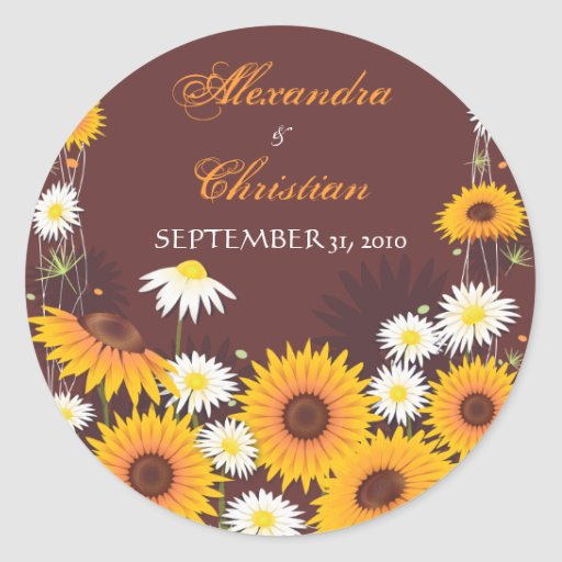 Sunflower Daisy Save The Date Wedding Announcement Round Stickers