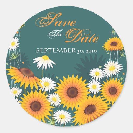 Sunflower Daisy Save The Date Wedding Announcement Sticker