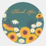 Sunflower Daisy Thank You Round Sticker