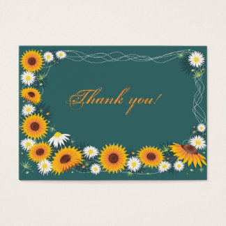 Sunflower & Daisy Thank You Tag Business Card