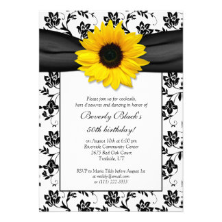 Sunflower Damask Birthday Party Invitation