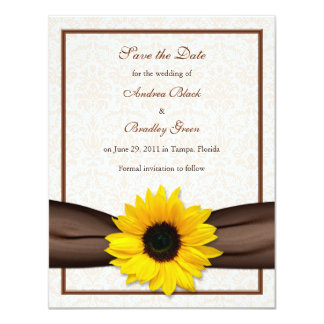 "Sunflower Damask Floral Save the Date Announcement 4.25"" X 5.5"" Invitation Card"