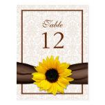 Sunflower Damask Floral Table Number Card