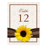 Sunflower Damask Floral Table Number Card Post Card