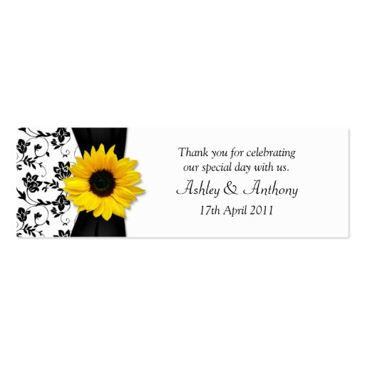 Sunflower Damask Floral Wedding Favor Tags Business Card