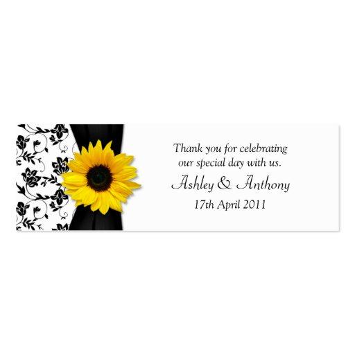 Sunflower Damask Floral Wedding Favor Tags Business Card