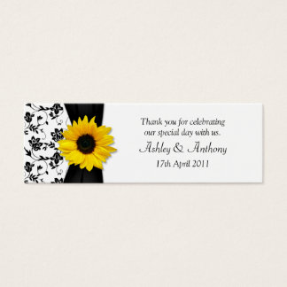 Sunflower Damask Floral Wedding Favor Tags Mini Business Card