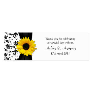 Sunflower Damask Floral Wedding Favor Tags Pack Of Skinny Business Cards