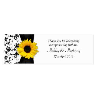 Sunflower Damask Floral Wedding Favor Tags Pack Of Skinny Business Cards