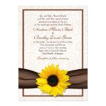 Sunflower Damask Floral Wedding Invitation