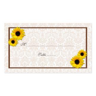 Sunflower Damask Floral Wedding Place Cards Pack Of Standard Business Cards