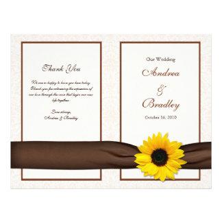 Sunflower Damask Floral Wedding Program 21.5 Cm X 28 Cm Flyer