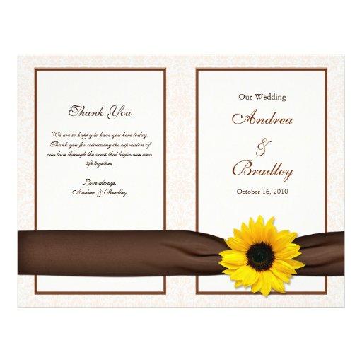 Sunflower Damask Floral Wedding Program Custom Flyer
