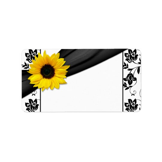 Sunflower Damask Wedding Blank Address Label