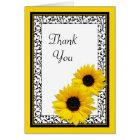 Sunflower Damask Wedding Shower Thank You Card