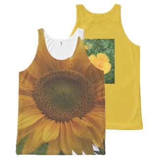 Sunflower Design All-Over Unisex Tank Top Gold