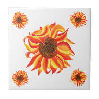 Sunflower design decorative tile