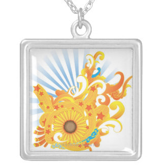 Sunflower Design Silver Plated Necklace