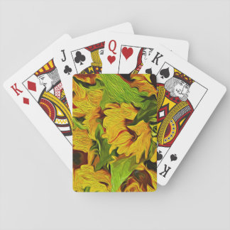 Sunflower Digital Oil Painting Playing Cards
