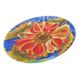 Sunflower dinner or decorative plate