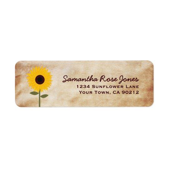 Sunflower Distressed Paper Look Custom Address