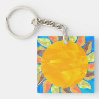 Sunflower Double-Sided Square Acrylic Key Ring